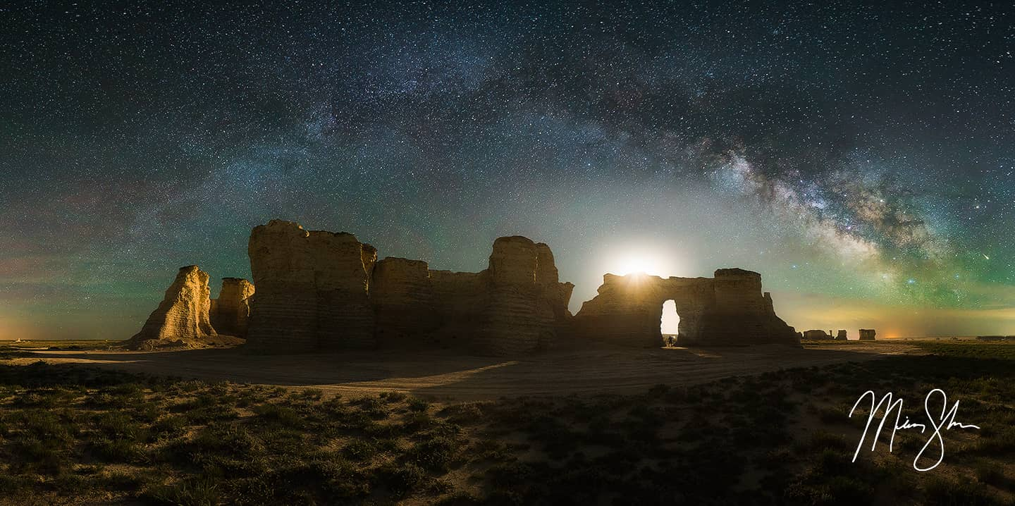 Monument Rocks Milky Way Panorama Fine Art Prints