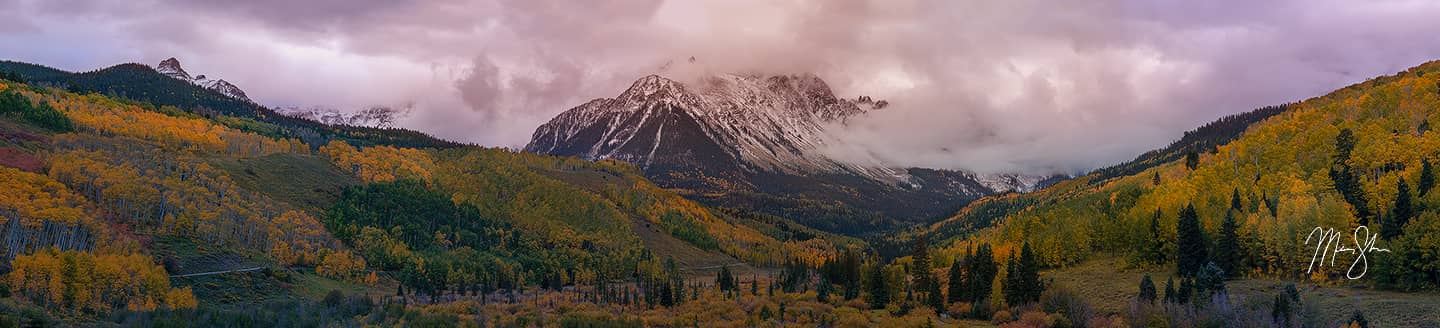 Open edition fine art print of Moody Mount Sneffels Autumn Sunset from Mickey Shannon Photography. Location: Sneffels Wilderness, Ridgway, San Juans, Colorado