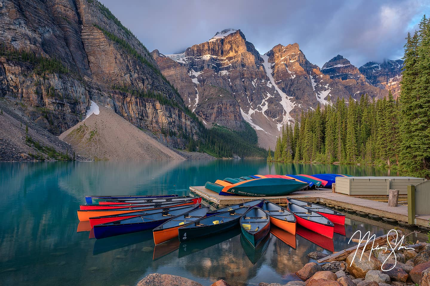 Open edition fine art print of Moraine Lake Sunrise at the Canoe Dock from Mickey Shannon Photography. Location: Moraine Lake, Banff National Park, Alberta, Canada