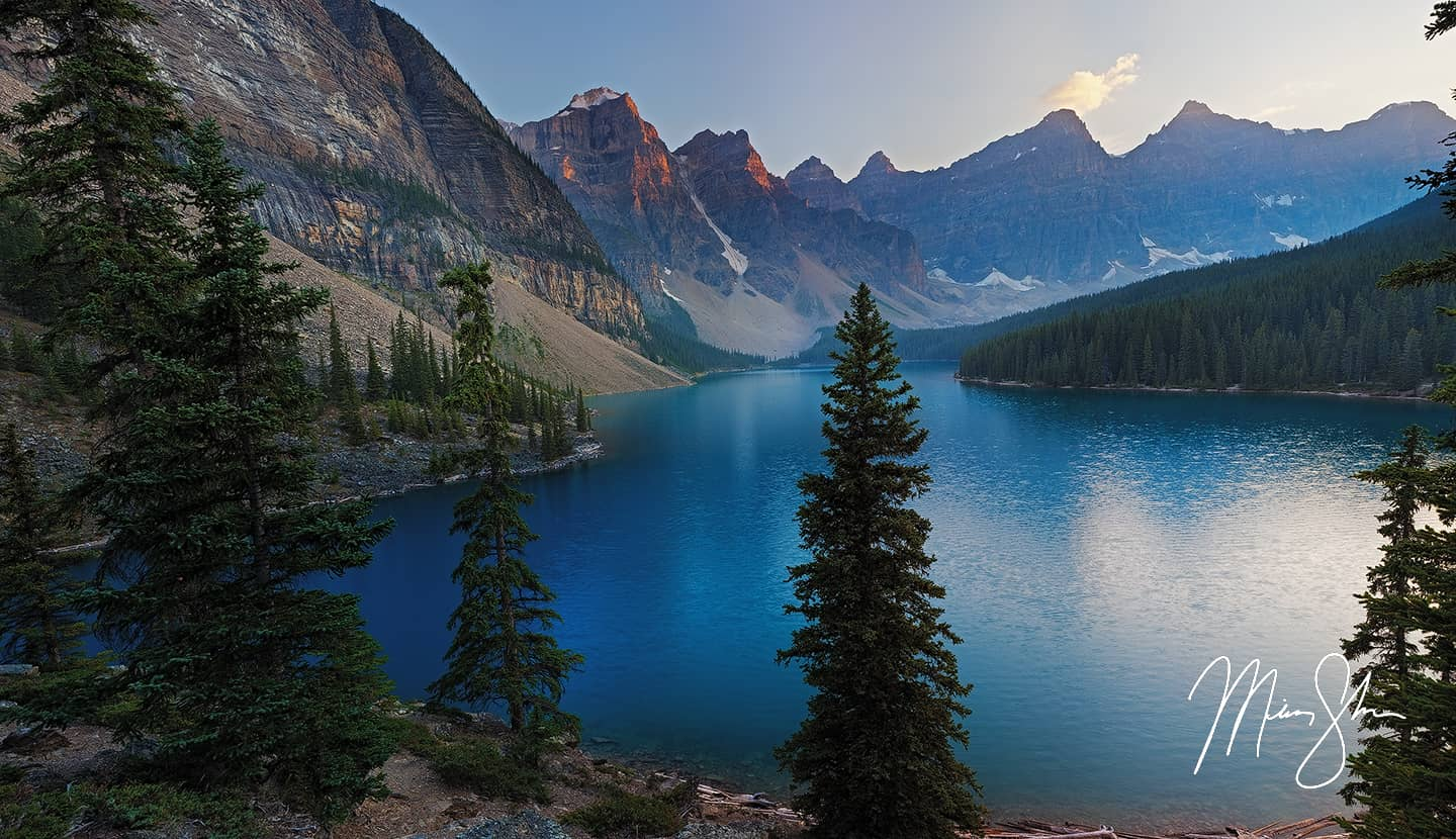 Sunset at Moraine Lake