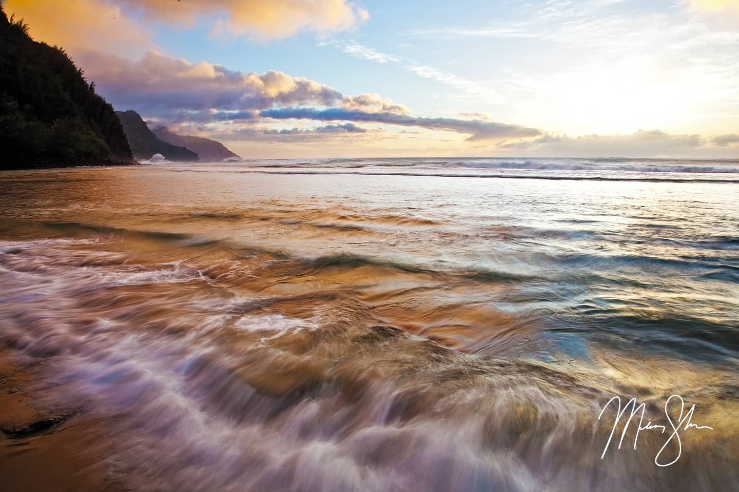 Open edition fine art print of Napali Coast Rush from Mickey Shannon Photography. Location: Ke'e Beach, Napali Coast, Kauai, Hawaii
