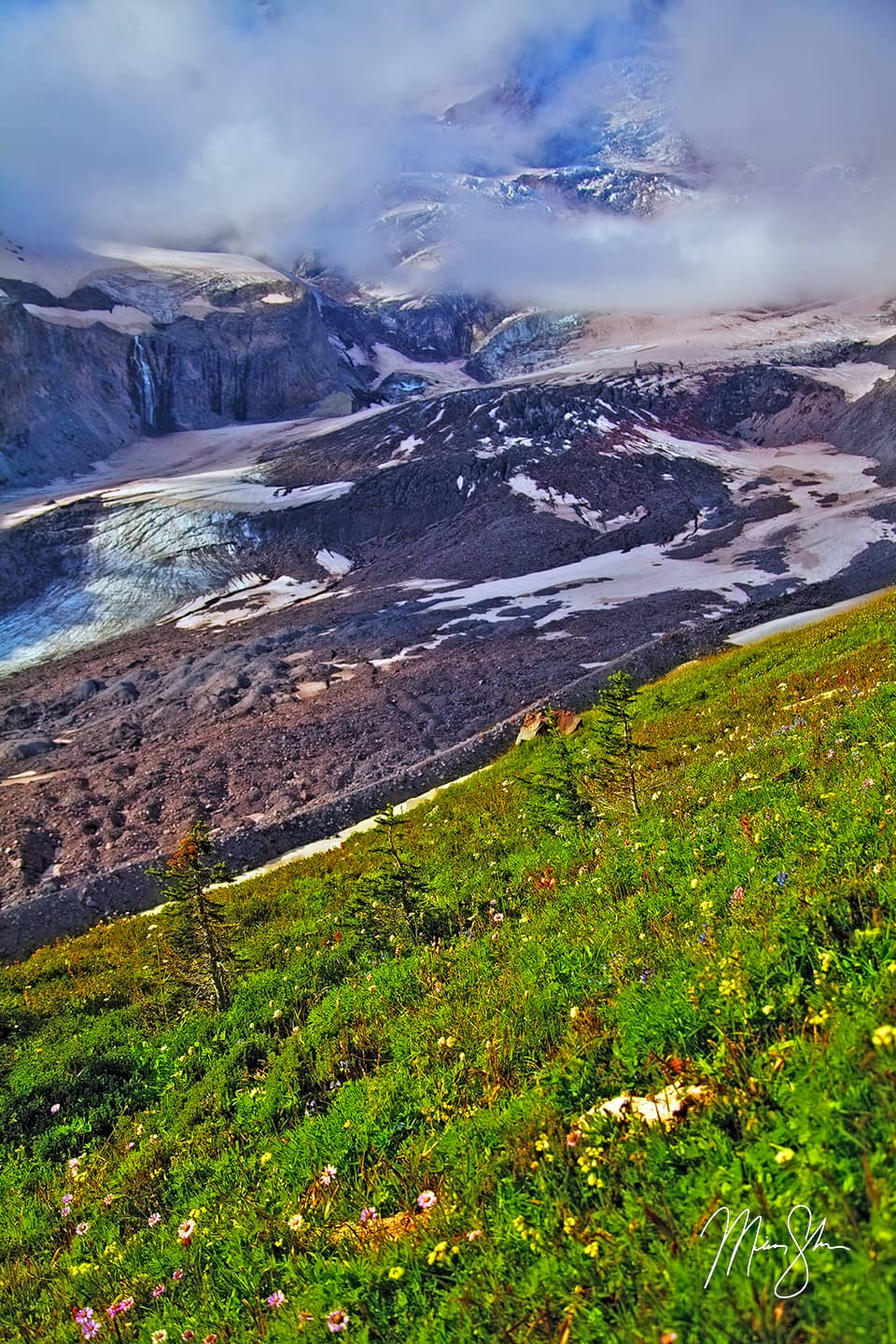 Open edition fine art print of Nisqually Glacier Vertical from Mickey Shannon Photography. Location: Paradise, Mount Rainier National Park, Washington, USA