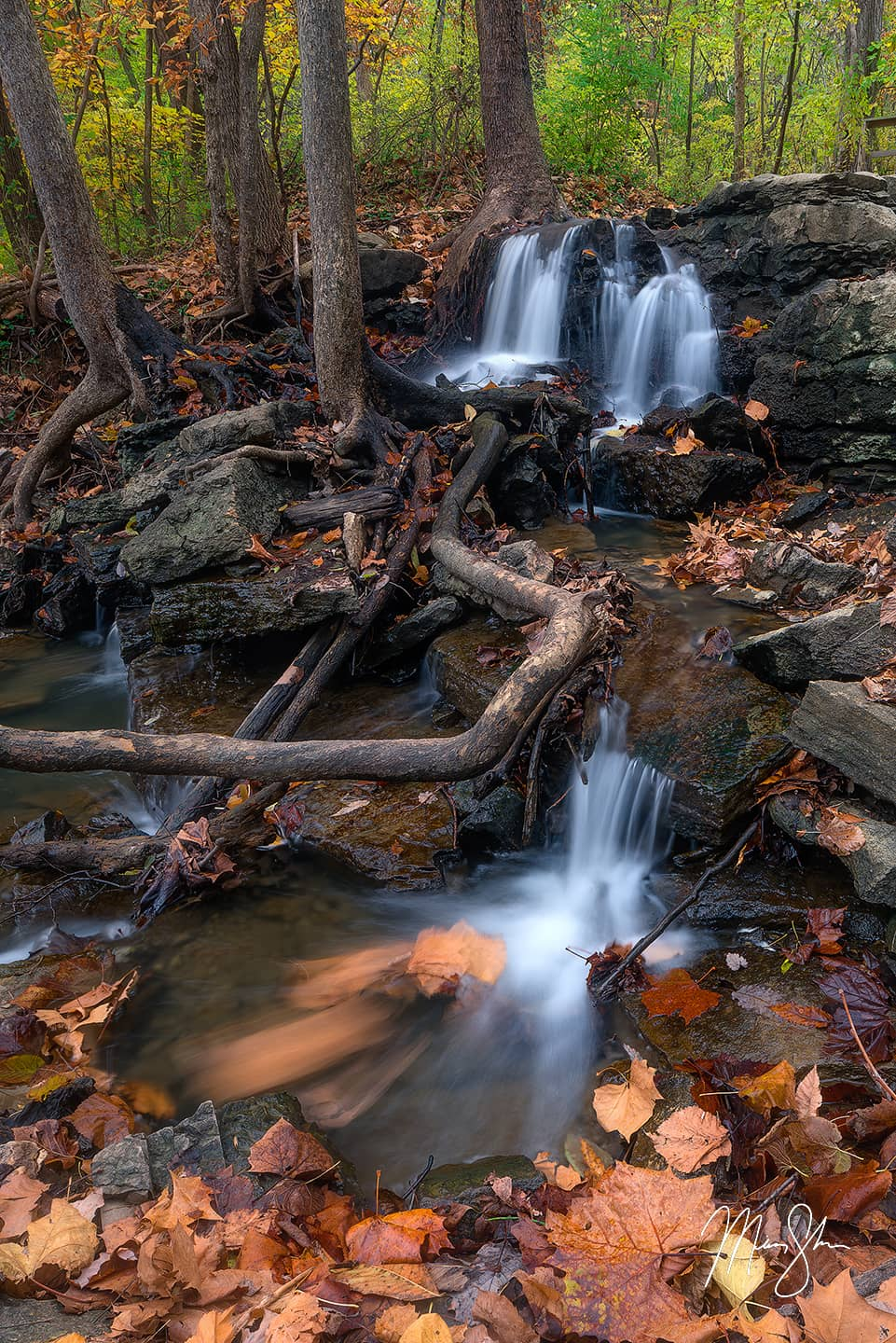 Open edition fine art print of Parkville Autumn Falls from Mickey Shannon Photography. Location: Parkville, Missouri