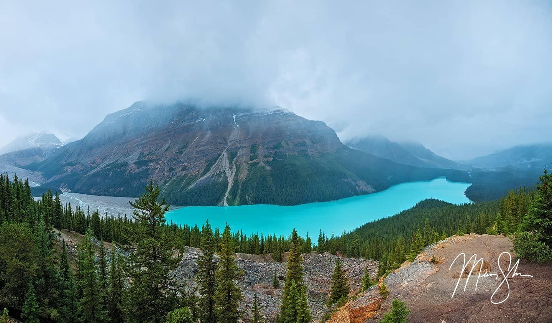 Peyto Lake in the Fog Panorama - Peyto Lake, Icefields Parkway, Banff National Park, Alberta, Canada
