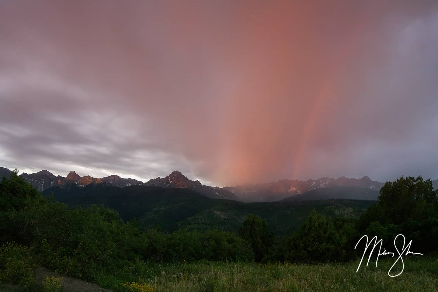 Open edition fine art print of Rainbow Sunrise over Sneffels from Mickey Shannon Photography. Location: Ridgway, Colorado