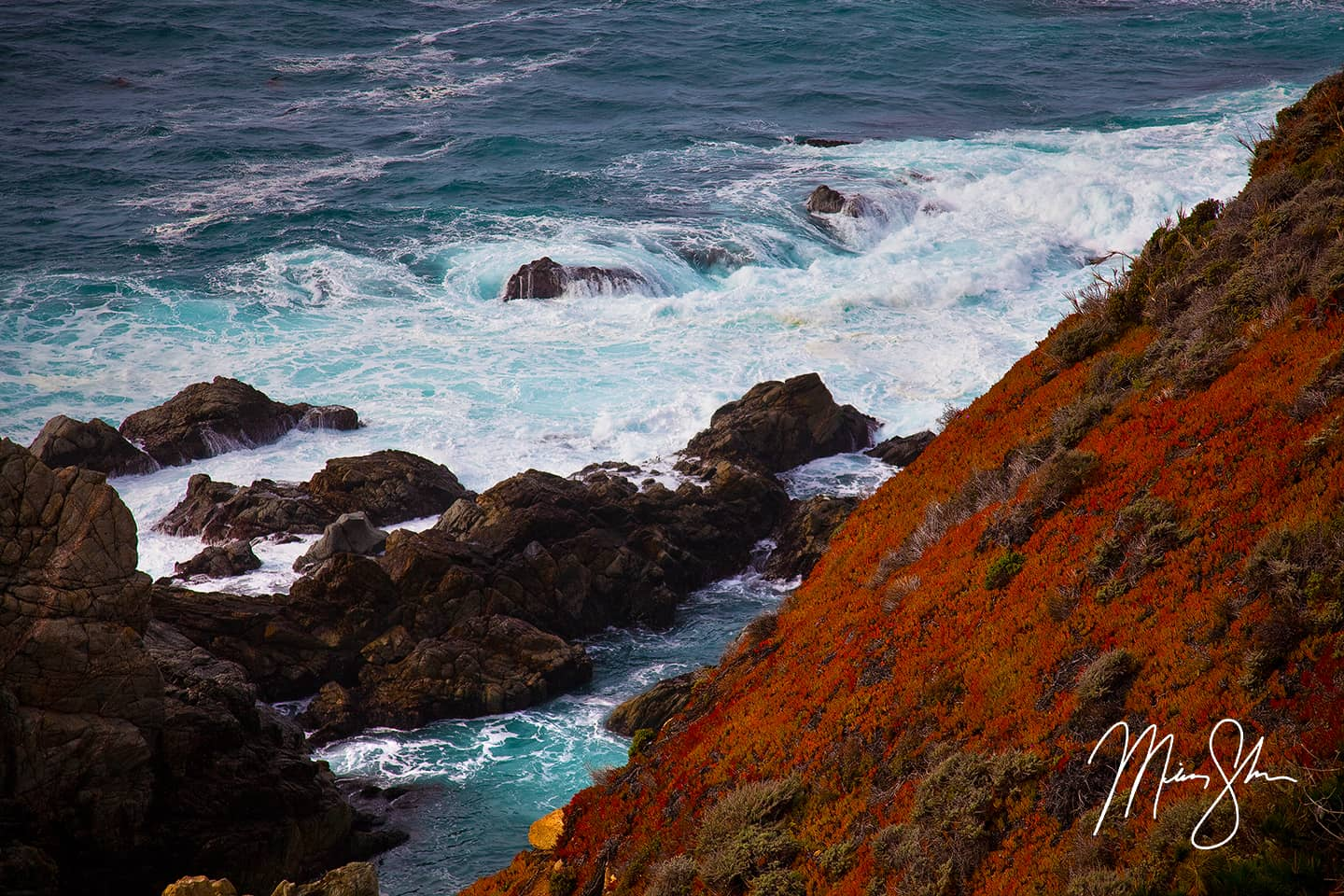 Open edition fine art print of Red and Blue from Mickey Shannon Photography. Location: Big Sur, California