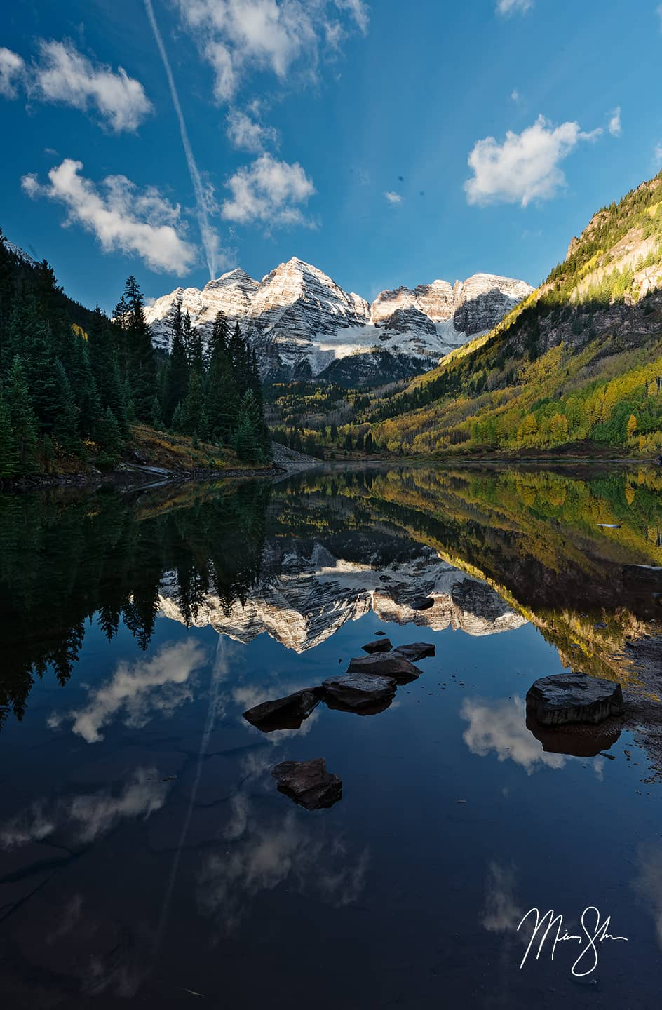 Open edition fine art print of Reflective Maroon Bells in the Autumn from Mickey Shannon Photography. Location: Maroon Bells, Colorado