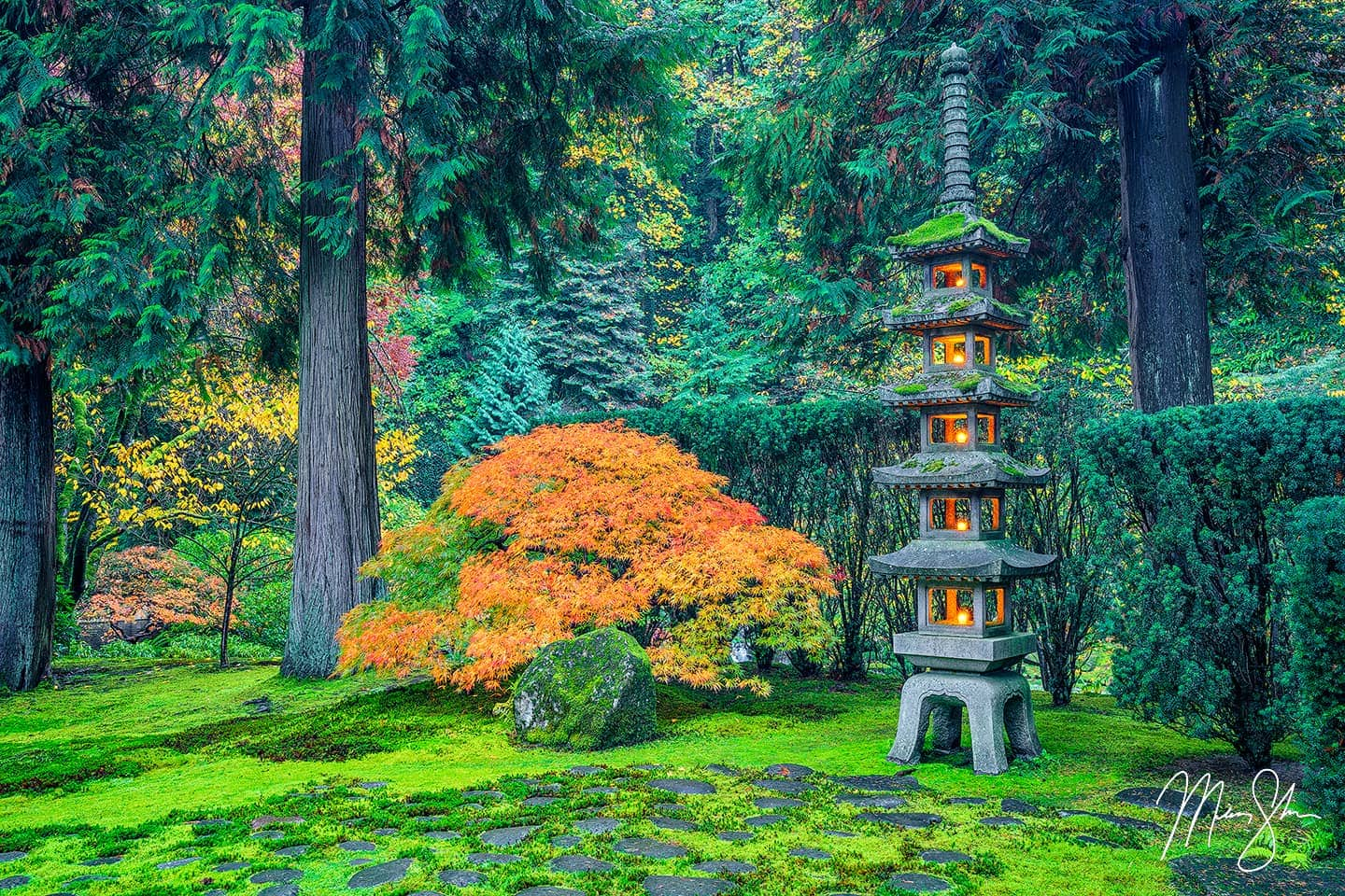 Fine art prints of a beautiful lit pagoda at the Portland Japanese Garden in autumn