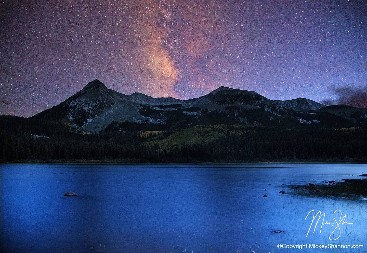 Open edition fine art print of Silent Night Over East Beckwith Mountain from Mickey Shannon Photography. Location: Lost Lake Slough, Kebler Pass, Colorado
