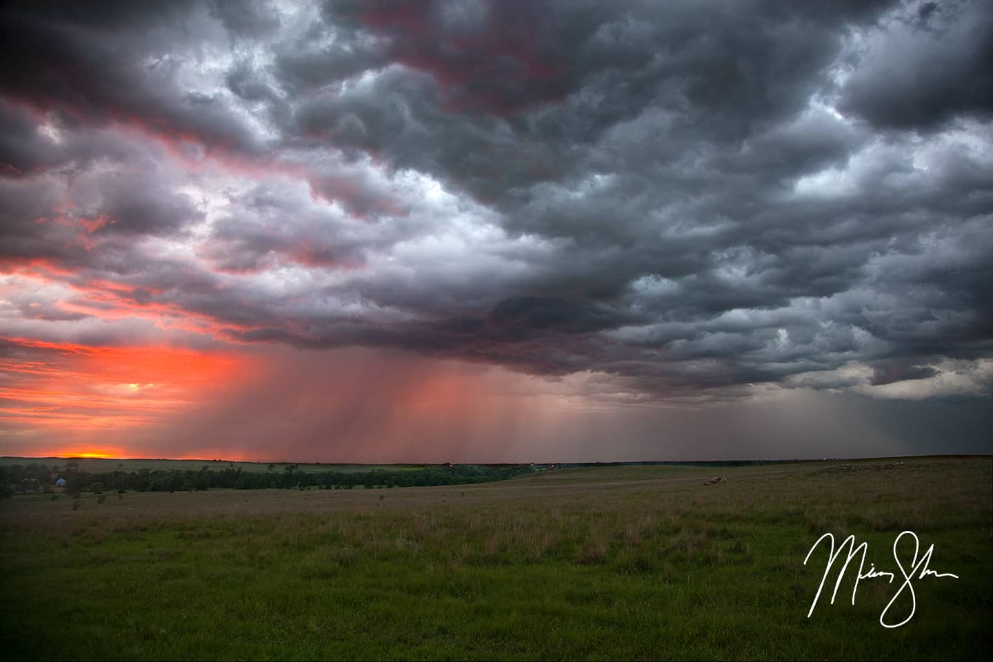 Smoky Hills Stormy Sunset - Near Minneapolis, Kansas