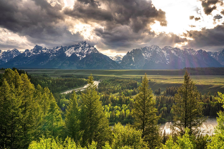 Snake River Sunrays - Snake River Overlook, Grand Teton National Park, Wyoming