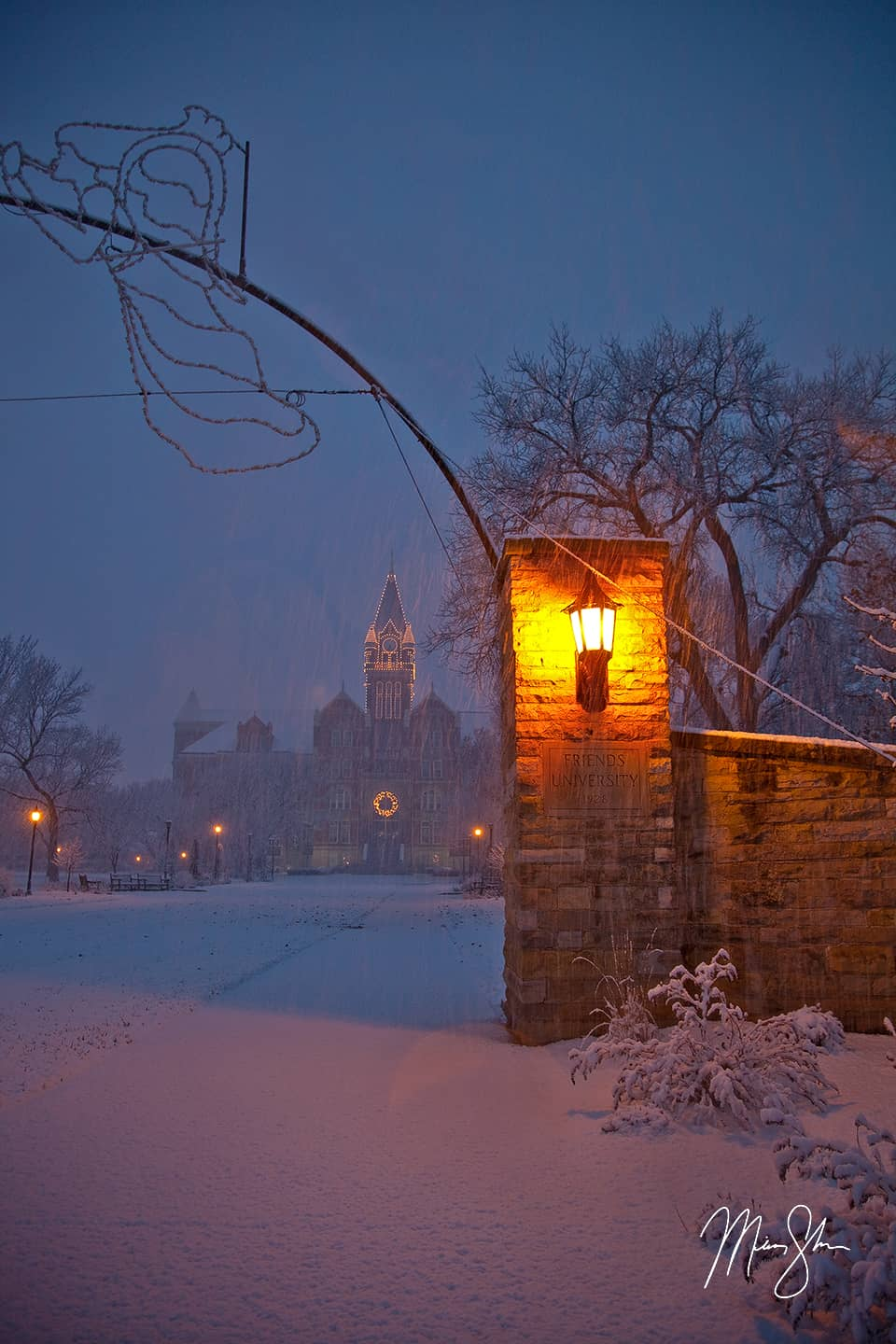 Open edition fine art print of Snowy Scene at Friends University from Mickey Shannon Photography. Location: Friends University, Wichita, KS