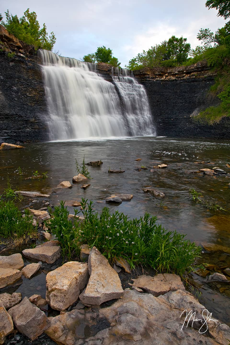 Spring at Bourbon Falls - Bourbon Falls, Bourbon State Fishing Lake, Kansas