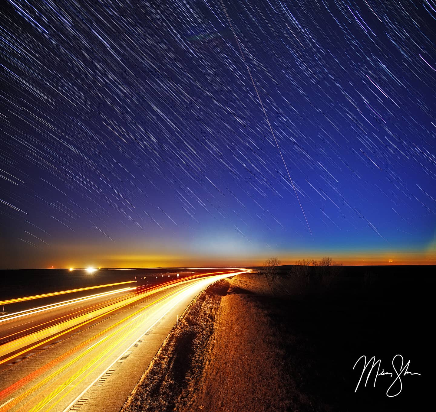Startrails on the Kansas Turnpike