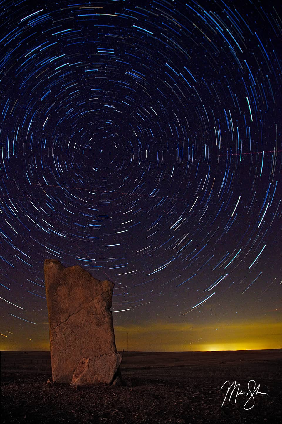 Star Trails Over Teter Rock - Teter Rock, Flint Hills near Cassoday, Kansas