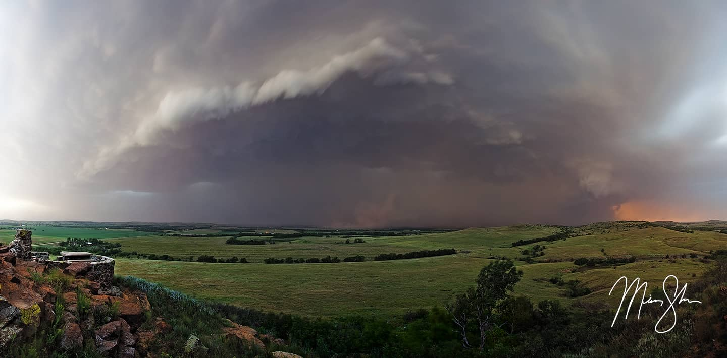 Stormy Coronado Heights Panorama - Coronado Heights, Lindsborg, Kansas
