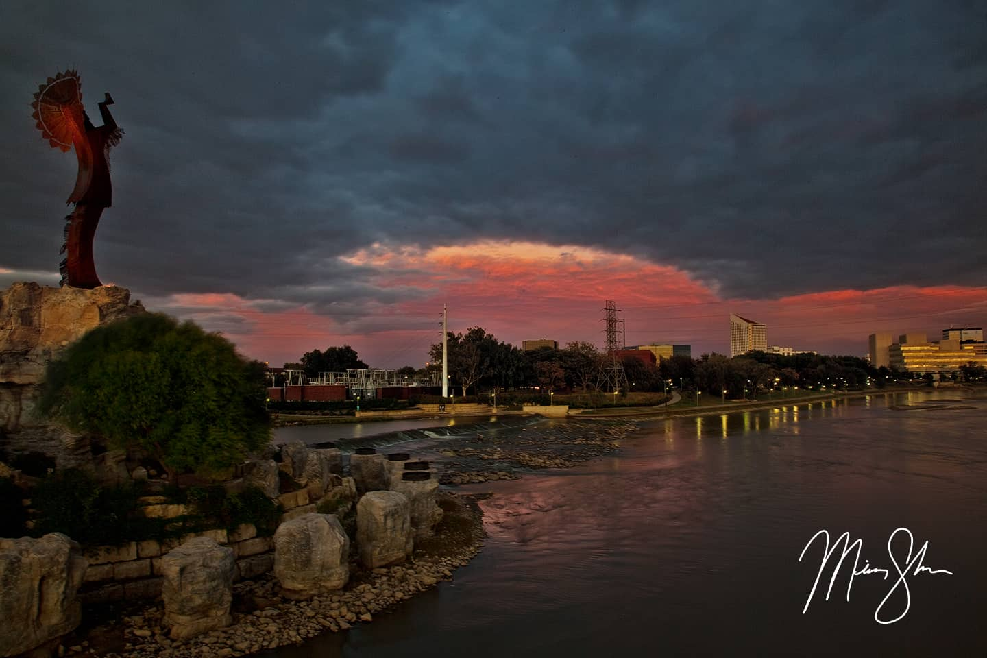Stormy Sunset at the Keeper of the Plains - Keeper of the Plains, Wichita, Kansas