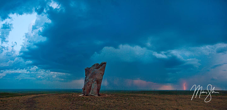 Stormy Teter Rock Panorama - Teter Rock, Flint Hills near Cassoday, Kansas