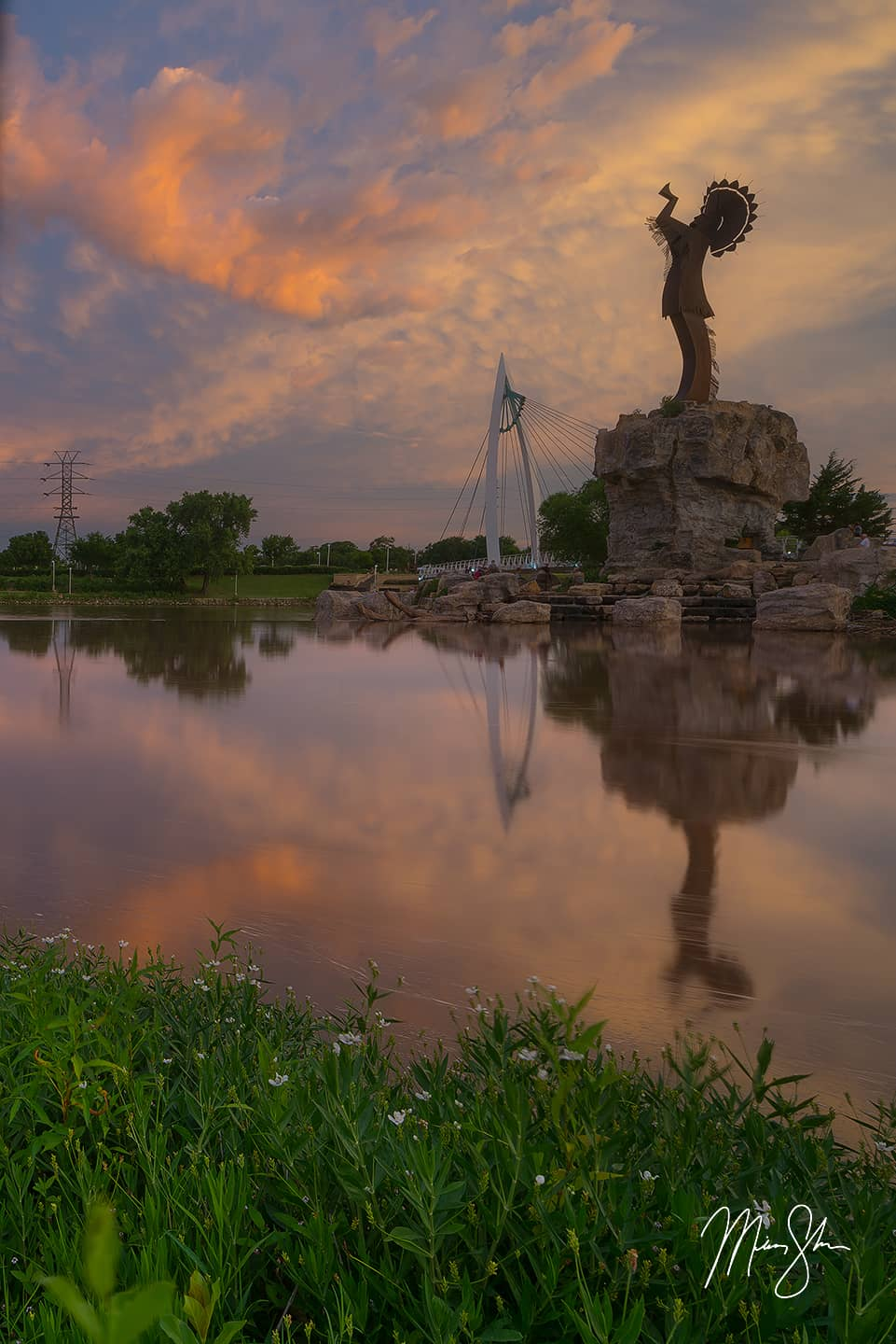 Open edition fine art print of Summer Reflection at the Keeper of the Plains from Mickey Shannon Photography. Location: The Keeper of the Plains, Wichita, Kansas