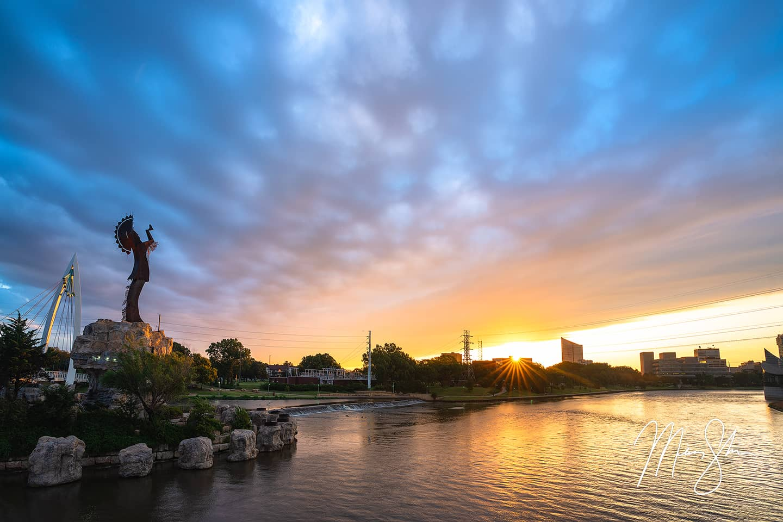 Sunburst Sunrise at the Keeper of the Plains - The Keeper of the Plains, Wichita, Kansas