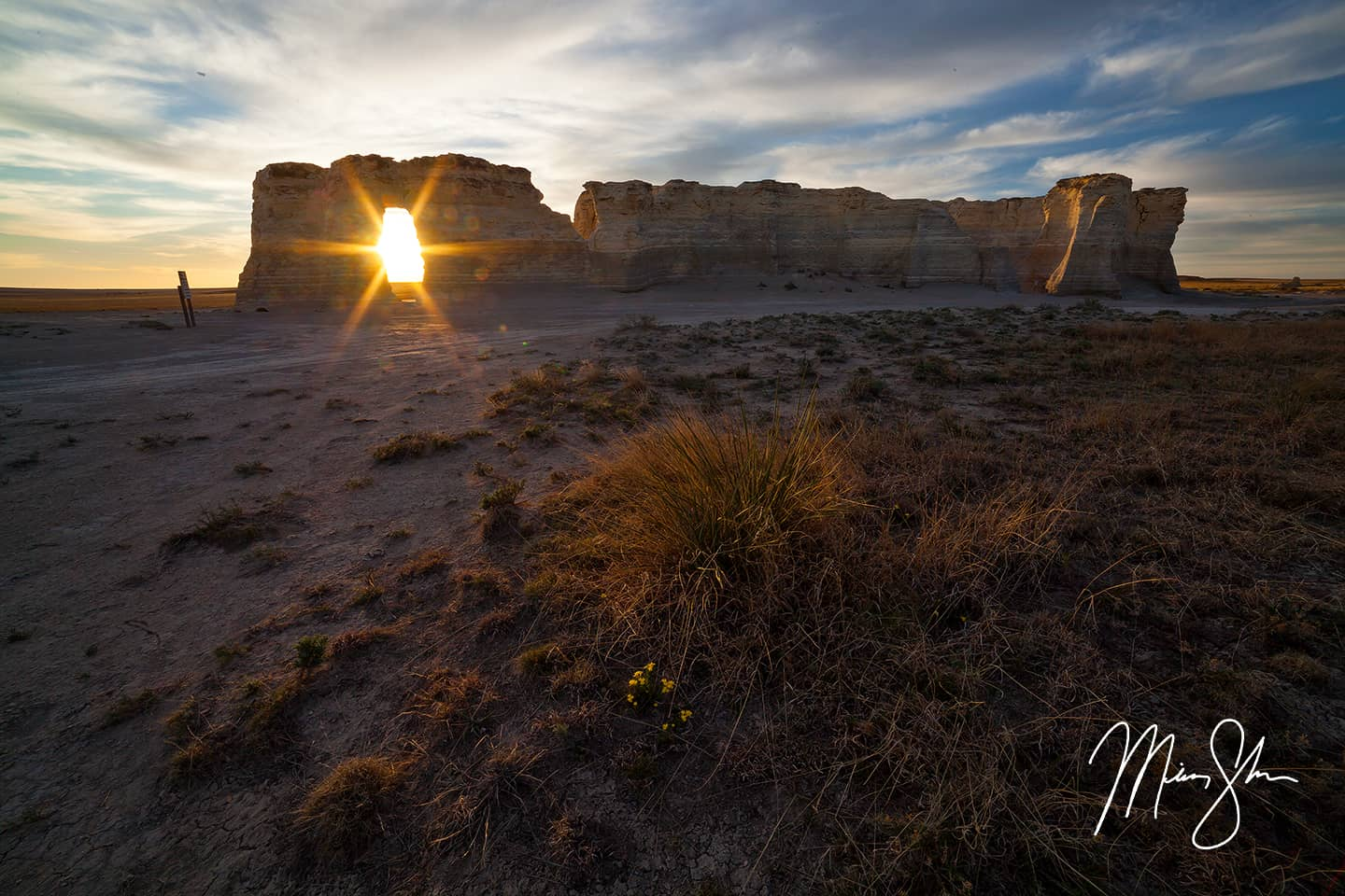 Sunburst Sunset at Monument Rocks - Monument Rocks, Kansas