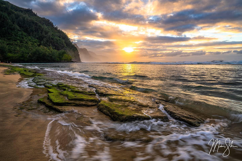 Sunset at Kee Beach - Kee Beach, Kauai, Hawaii