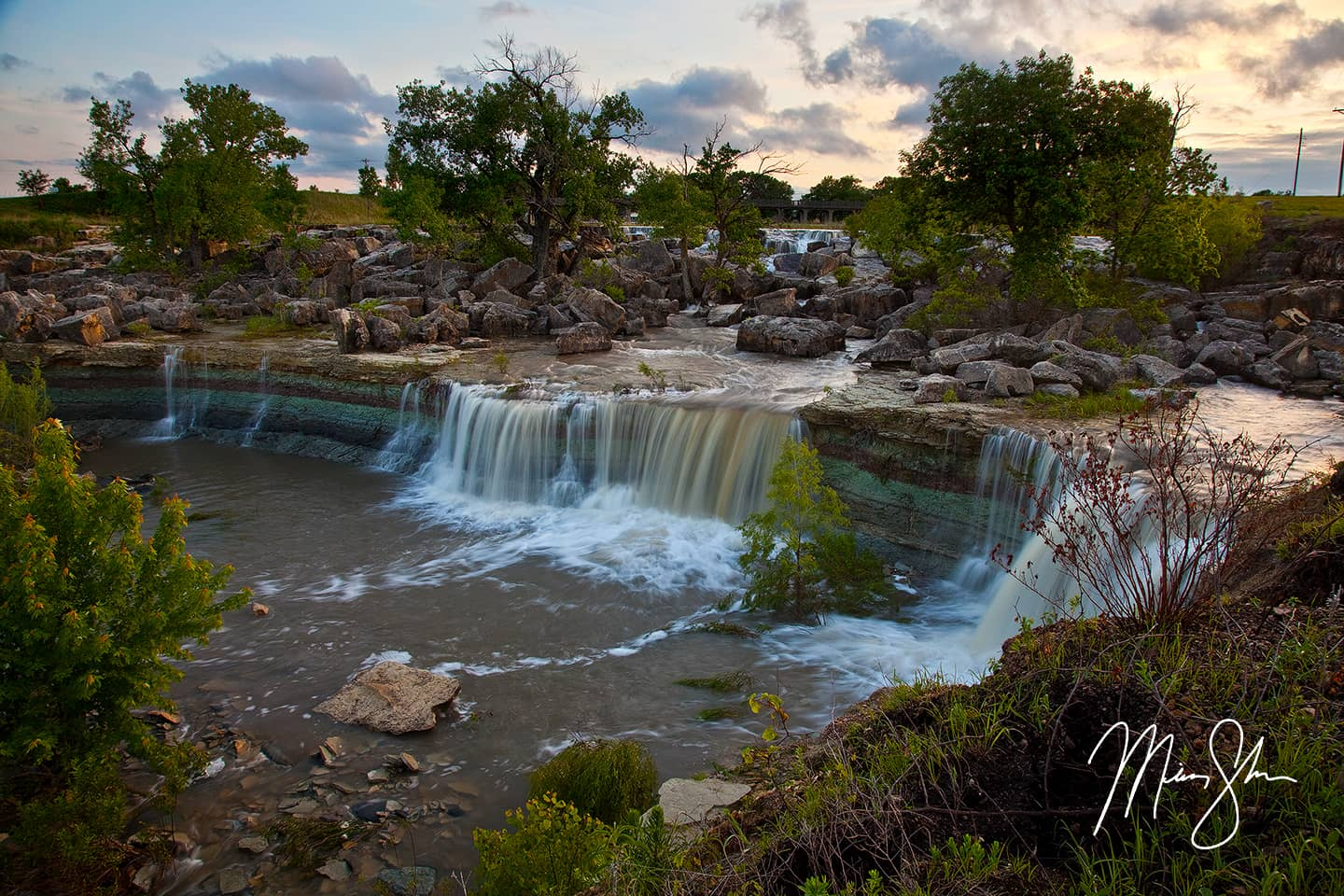 Open edition fine art print of Sunset at Lake Kahola Falls from Mickey Shannon Photography. Location: Lake Kahola, Kansas