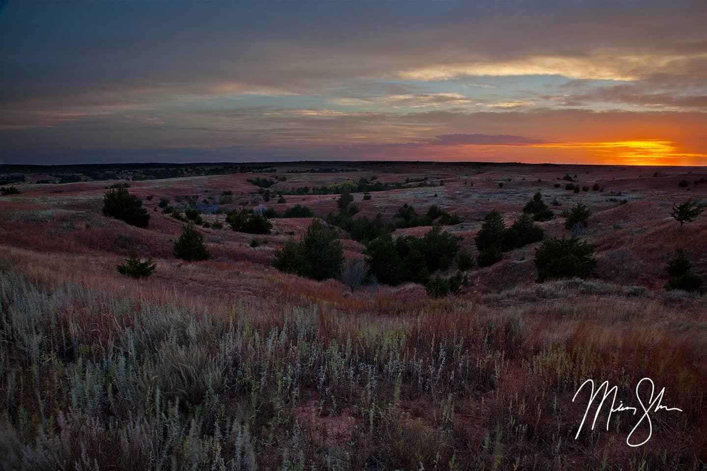 Sunset Over the Gypsum Hills - Gypsum Hills, Kansas