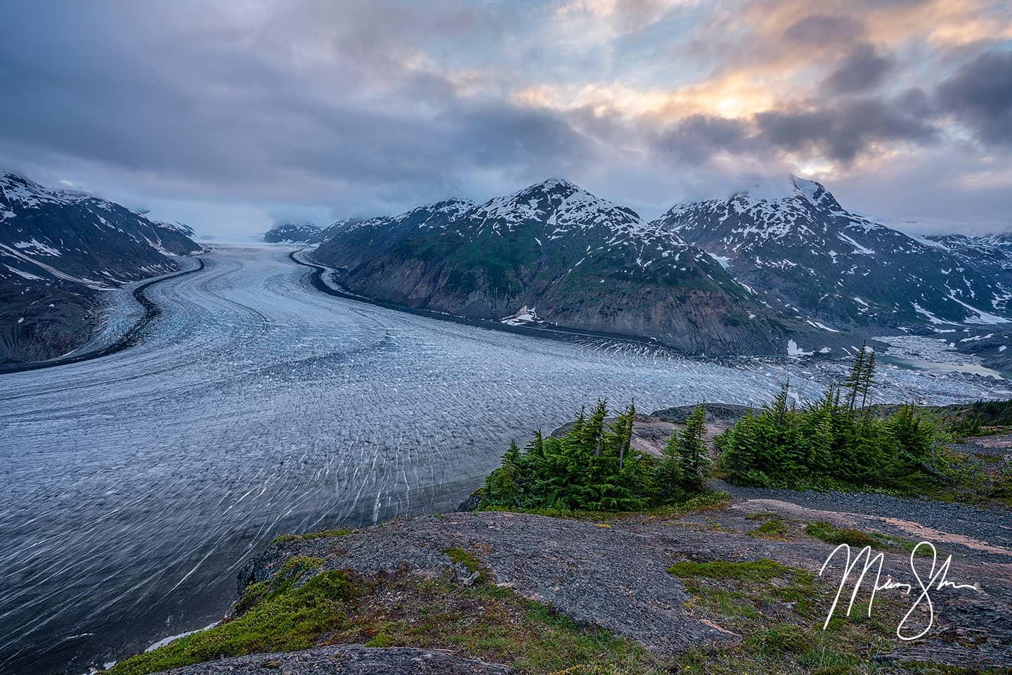 Open edition fine art print of Sunset Over the Salmon Glacier from Mickey Shannon Photography. Location: Salmon Glacier, Stewart, British Columbia