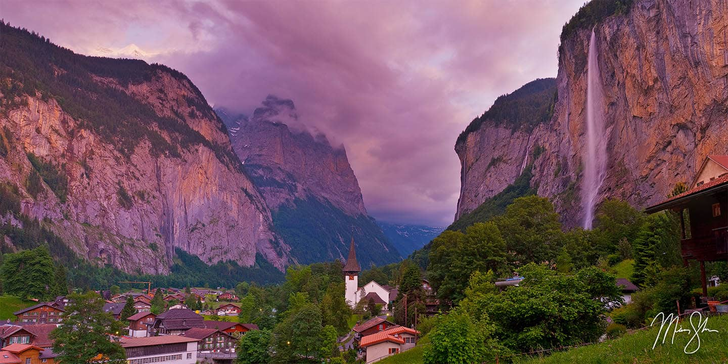 Switzerland Photography: Latuerbrunnen and the Swiss Alps at sunset