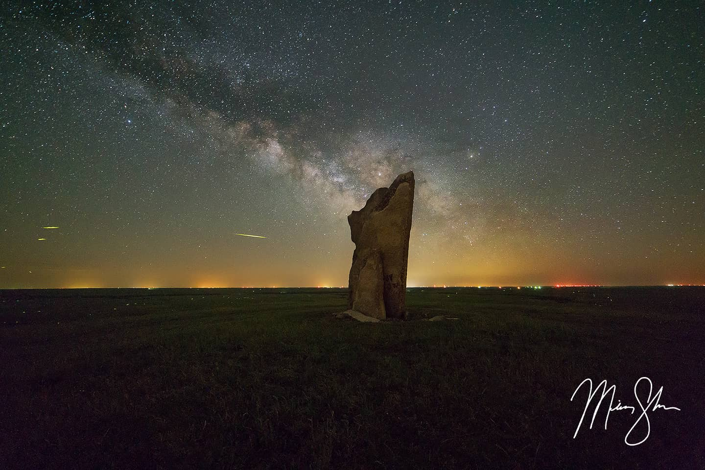 Open edition fine art print of Teter Rock Firefly Milky Way from Mickey Shannon Photography. Location: Teter Rock, Flint Hills, Kansas