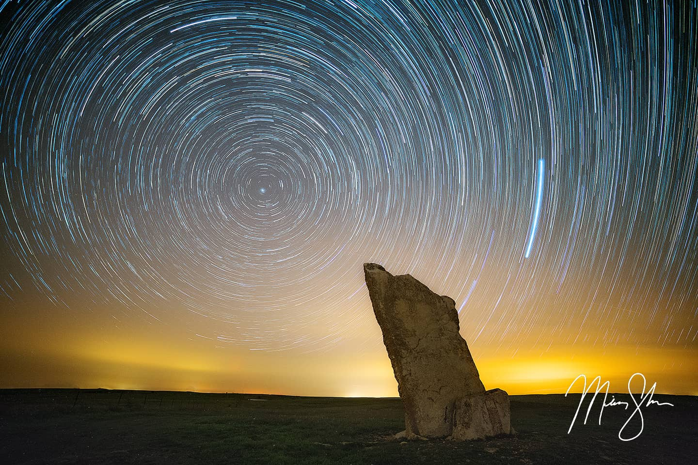Teter Rock Star Trails - Teter Rock, Flint Hills, Kansas