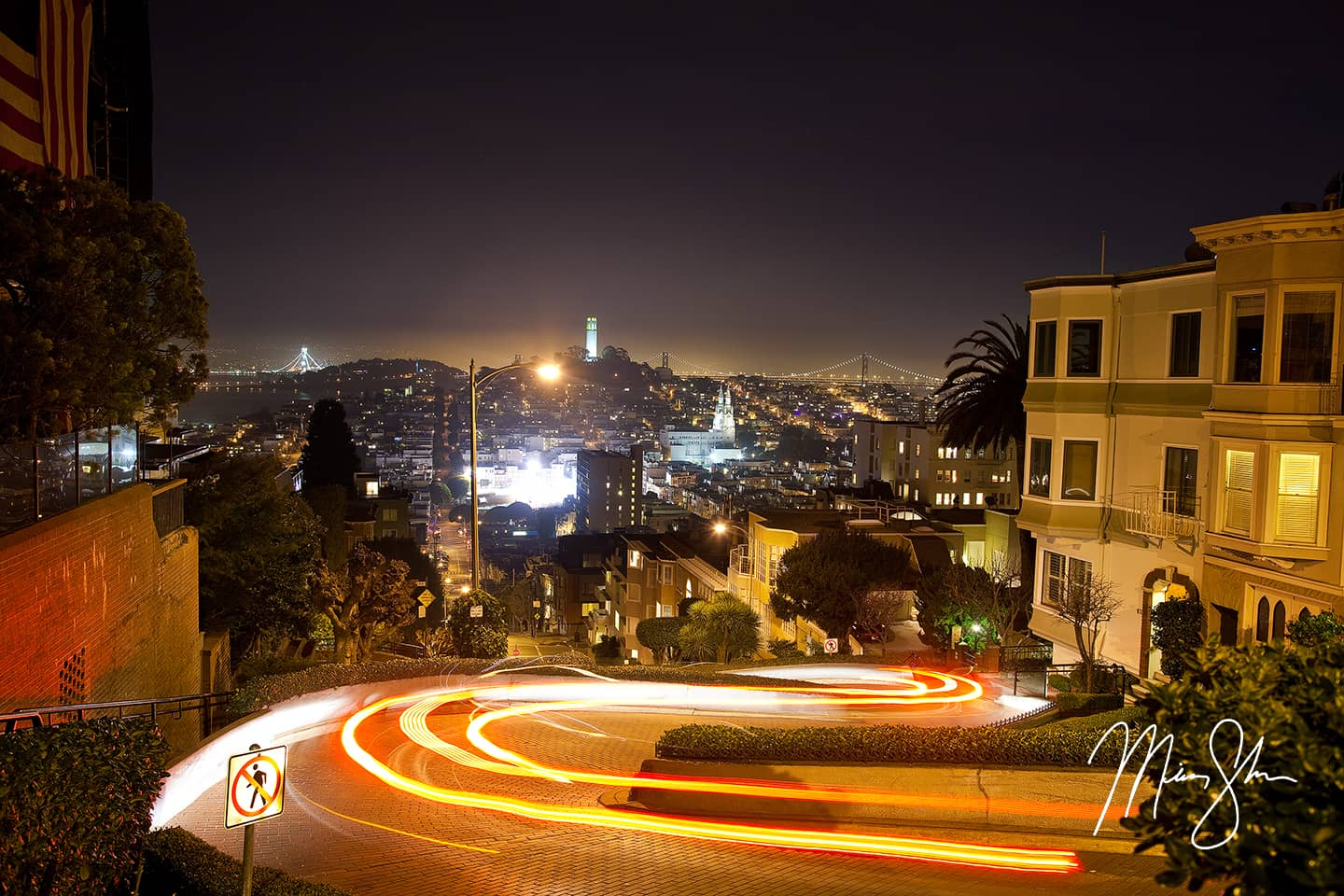 Open edition fine art print of The Lights of Lombard Street from Mickey Shannon Photography. Location: Lombard Street, San Francisco, California