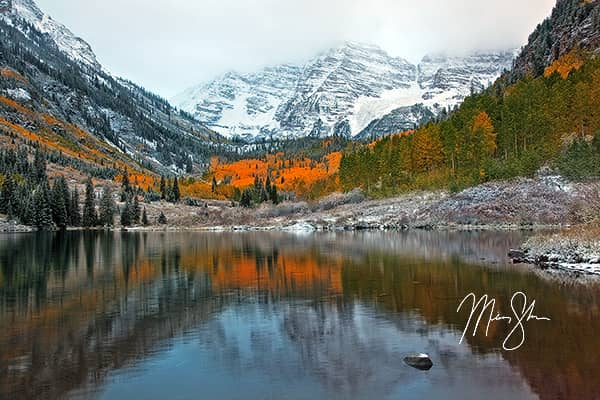 Autumn and Winter Collide at the Maroon Bells