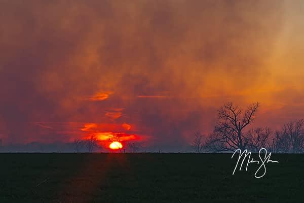 Burning Flint Hills Sunset