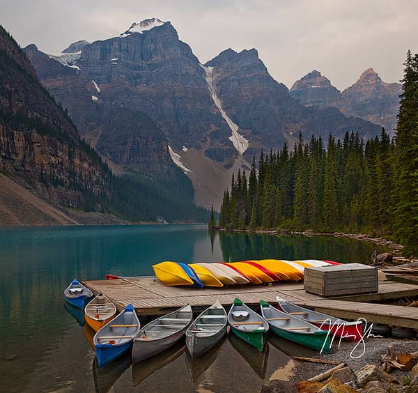 Canoes Of Moraine Lake