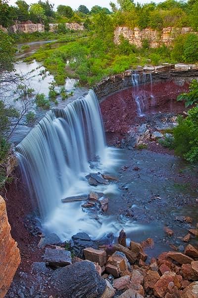 Cowley State Fishing Lake Waterfall
