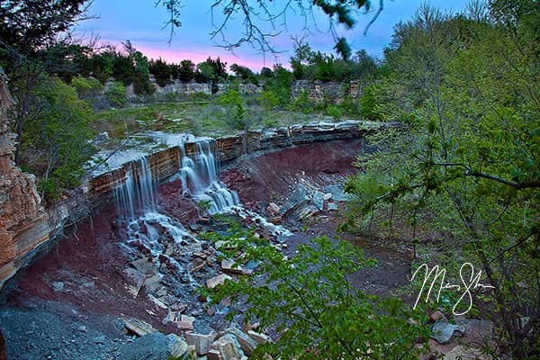 Cowley Lake Waterfall Sunset