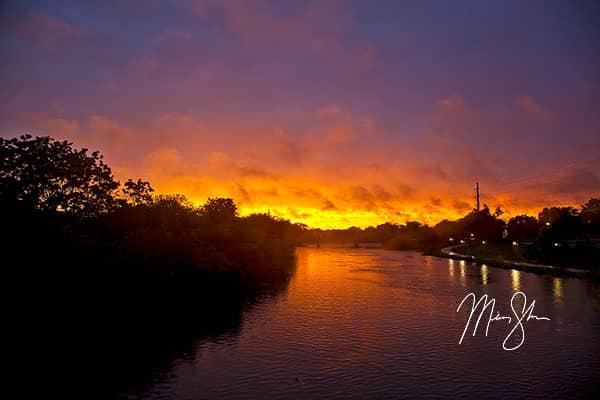 Fiery Arkansas River Sunset