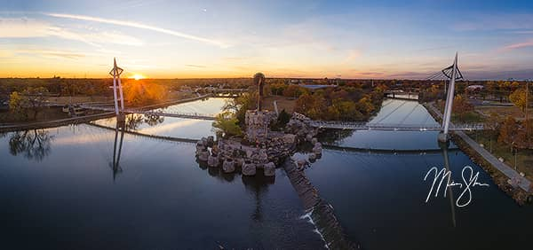 Keeper of the Plains Aerial Autumn Sunset