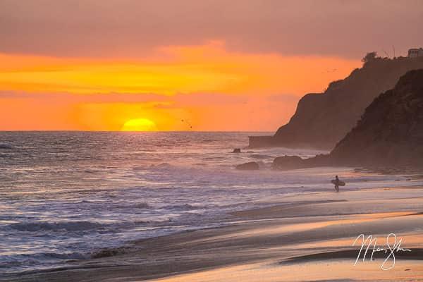 Malibu Sunset Surfer