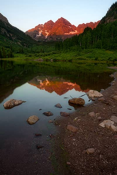 Maroon Bells Summer Sunrise Reflection