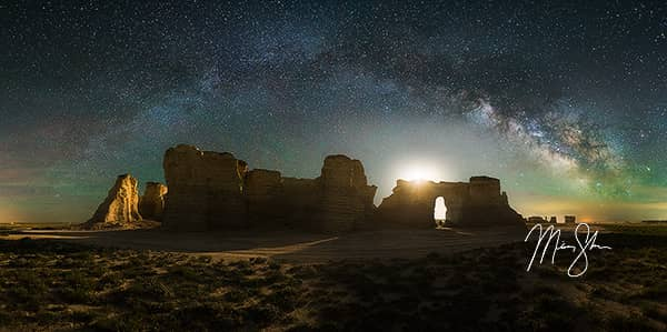 Monument Rocks Milky Way Panorama
