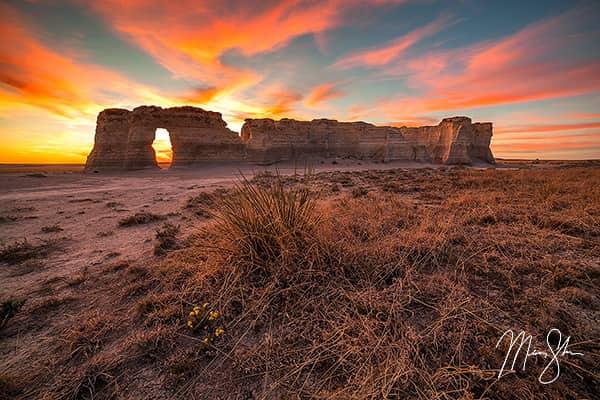 Monument Rocks Sunset Warmth