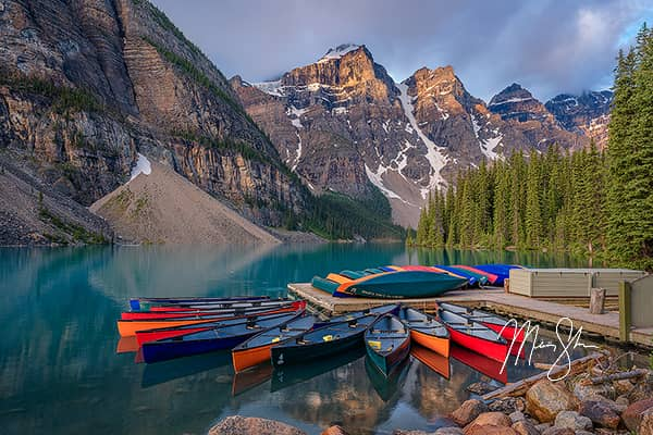 Moraine Lake Sunrise at the Canoe Dock