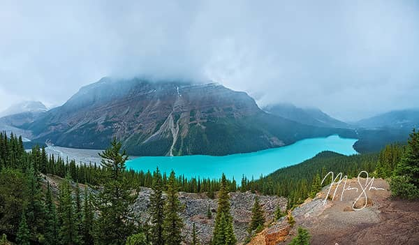 Peyto Lake in the Fog Panorama