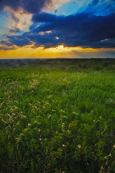 Spring Sunset On The Konza Prairie