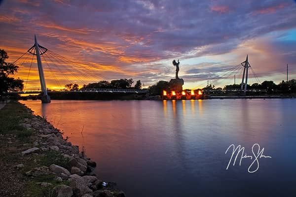 Wichita, Kansas Photo Gallery - Featured: Summer Sunset at the Keeper of the Plains