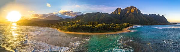 Tunnels Beach Sunrise Panorama