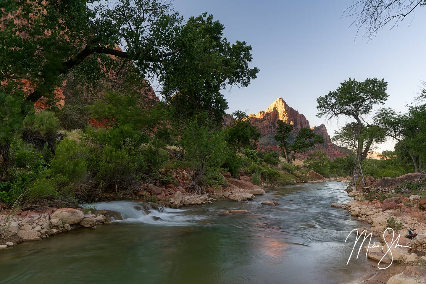 Open edition fine art print of Waterfall at the Watchman from Mickey Shannon Photography. Location: Zion National Park, Utah